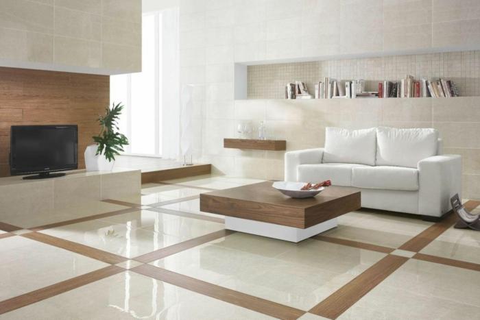 wohnzimmer fliesen holztextur weißes sofa minimalistisch