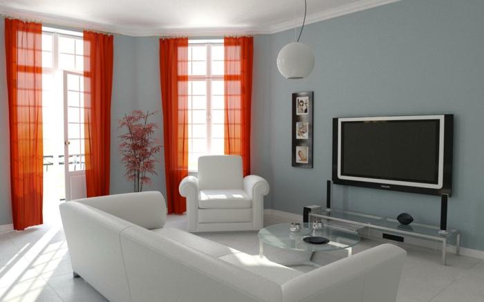 wohnzimmer gardinen dekoideen fenster krasses gelb weiße wohnzimmermöbel bodenfliesen