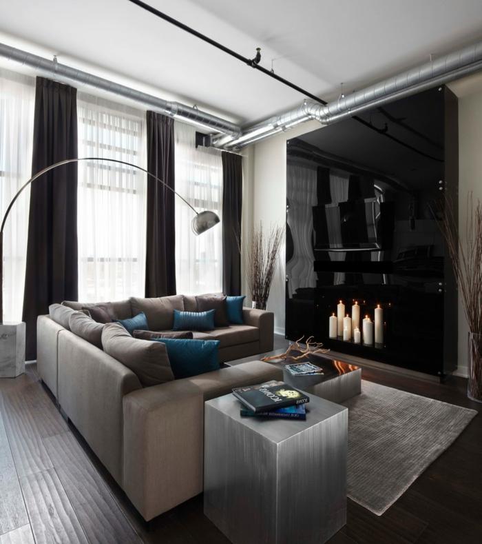 wohnzimmer gardinen elegant lang schicke wohnzimmermöbel dunkle holzfliesen