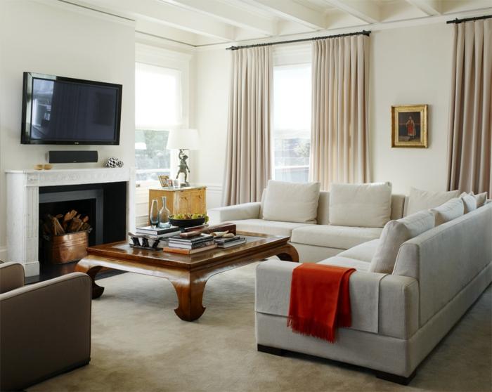 wohnzimmer gardinen ideen beige helle möbel kamin fernseher