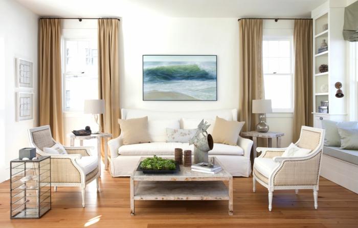 wohnzimmer gardinen ideen hellbraun rustikaler couchtisch helle möbel