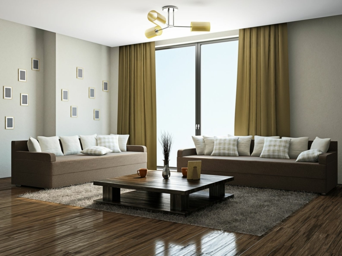 wohnzimmer gardinen ideen hellgrün teppich wanddeko