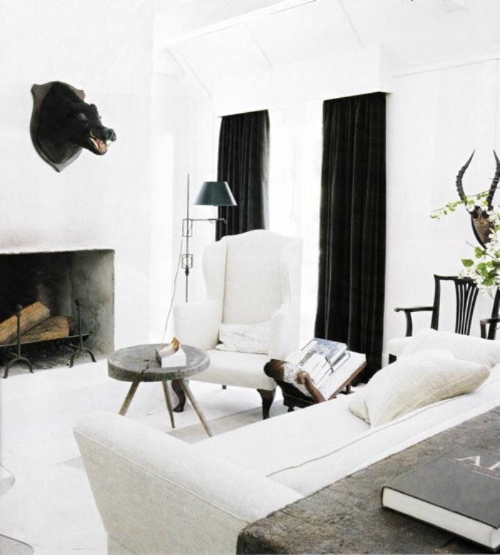 Wohnzimmer Gardinen Ideen Schwarz Weißes Ambiente Kamin
