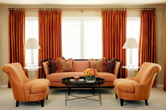wohnzimmer gardinen orange frisch hellorange möbel teppichboden