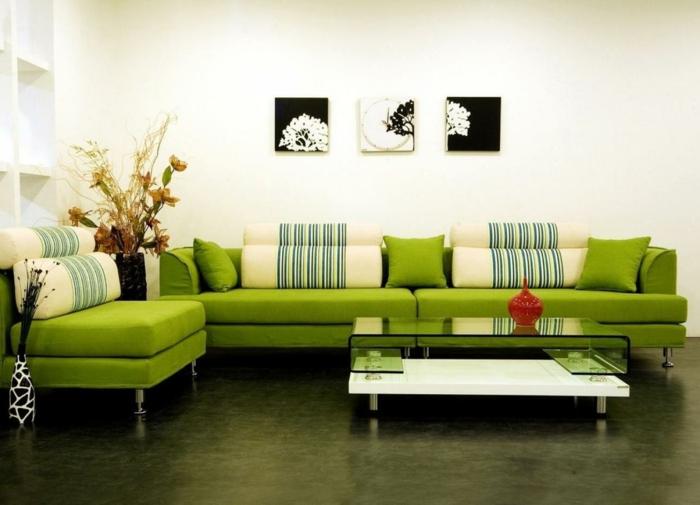 wohnzimmer sofa grün glastisch dekoideen