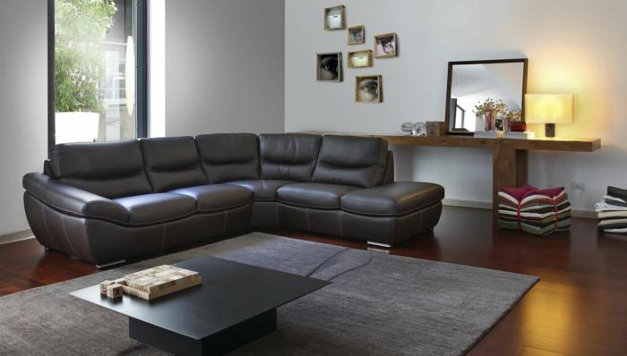 wohnzimmer sofa ledersofa schwarz elegant minimalistischer couchtisch ...