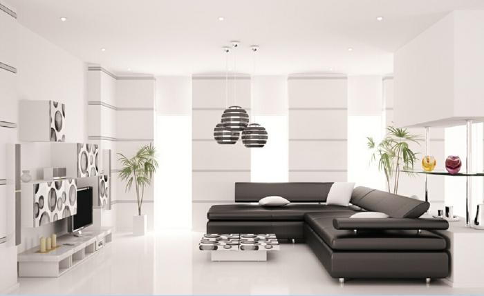 wohnzimmer sofa schwarz leder weißer boden pflanzen fernseher wohnwand