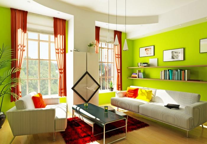 wohnzimmer wandgestaltung grüne wände orange gardinen roter teppich