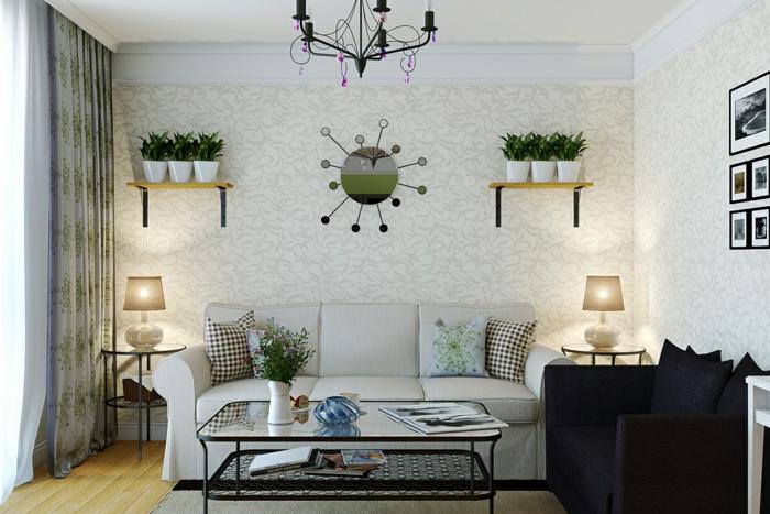 wohnzimmer wandgestaltung tapeten wandregale blumentöpfe wanddeko schwarzer sessel