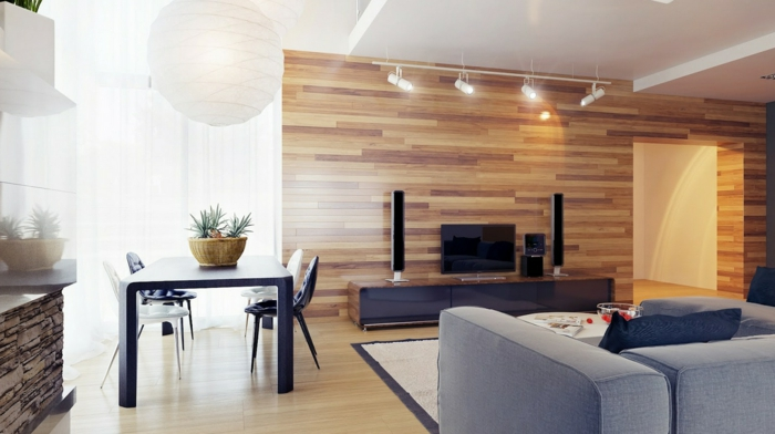 wohnzimmer wandgestaltung wandpaneele hölzern bereiche absondern