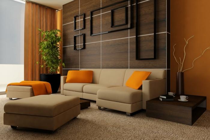wohnzimmer wandgestaltung wandpaneele holz orange akzente