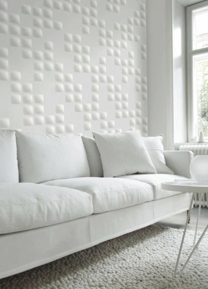 wohnzimmer wandgestaltung weiß wandpaneele mosaik weißes sofa