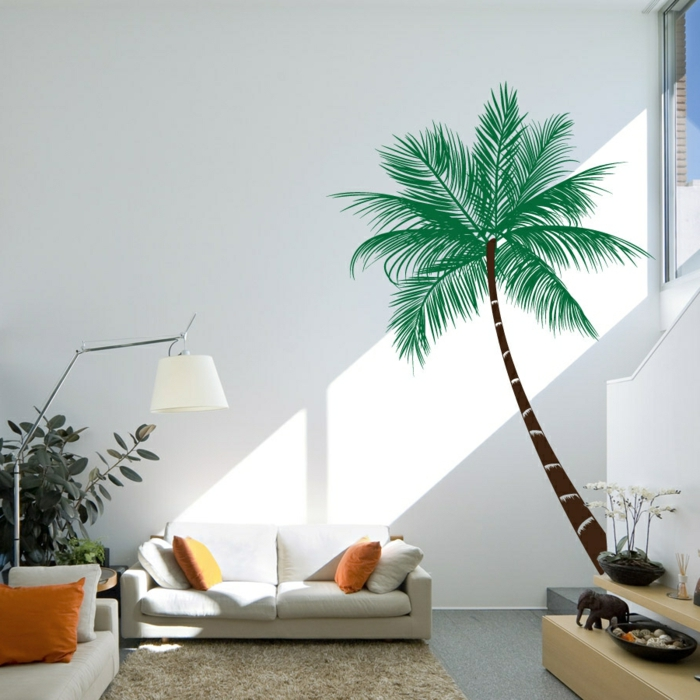 wohnzimmer wandgestaltung weißes sofa wandsticker pflanzen
