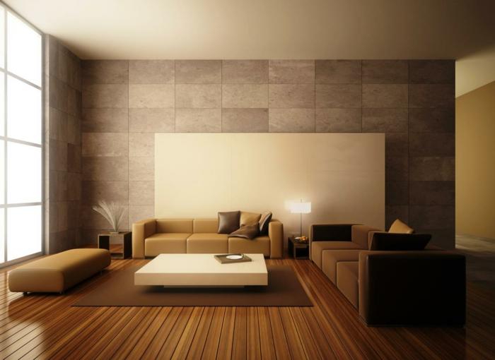 wohnzimmereinrichtung ideen braunnuancen schöne wandgestaltung schicke dekokissen