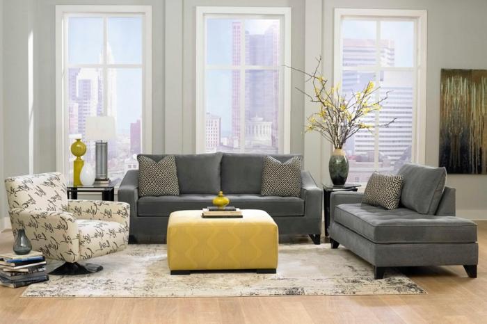 wohnzimmereinrichtung ideen graue möbel dekovasen