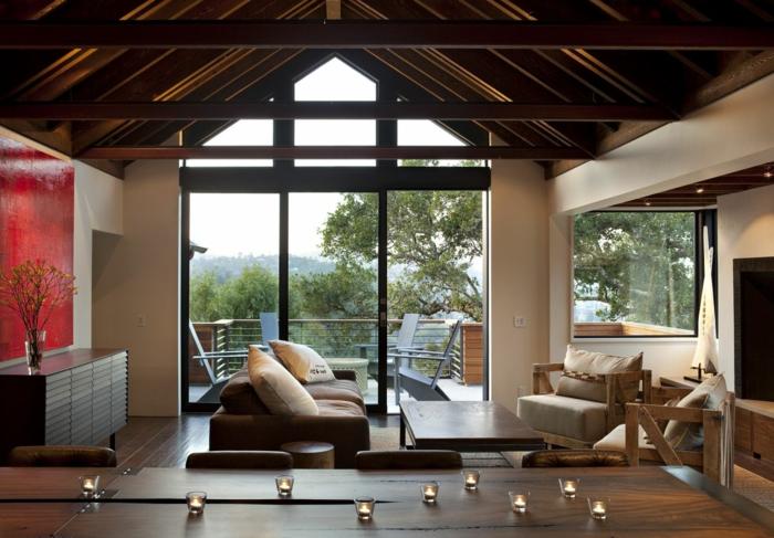 wohnzimmereinrichtung ideen holzmöbel panoramafenster