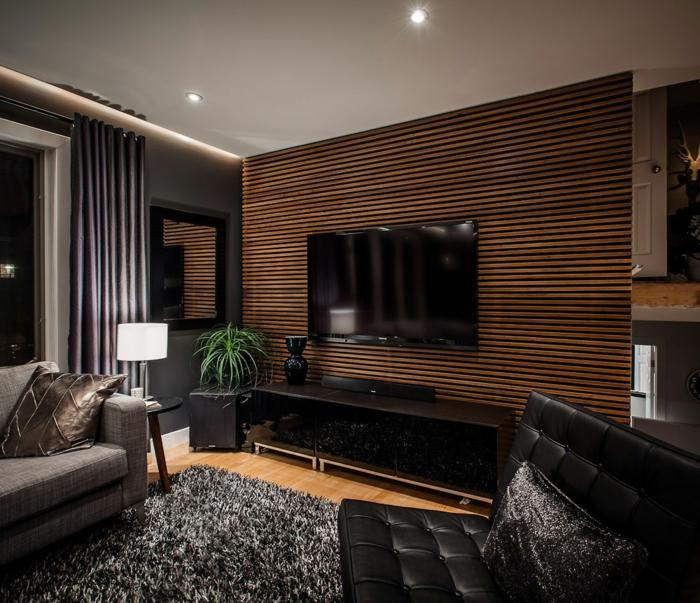 wohnzimmereinrichtung ideen männlicher look pflanze eleganter teppich