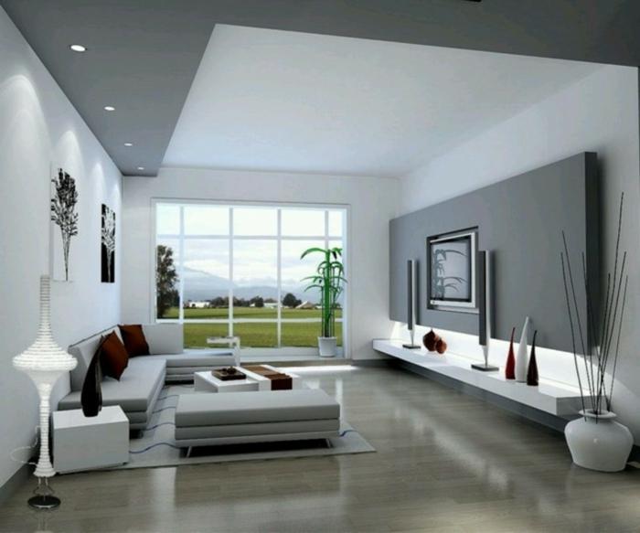 wohnzimmereinrichtung ideen modern geräumig dekoideen accessoires graue akzentwand