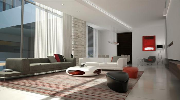 wohnzimmereinrichtung ideen rote akzente weißes sofa streifenteppich
