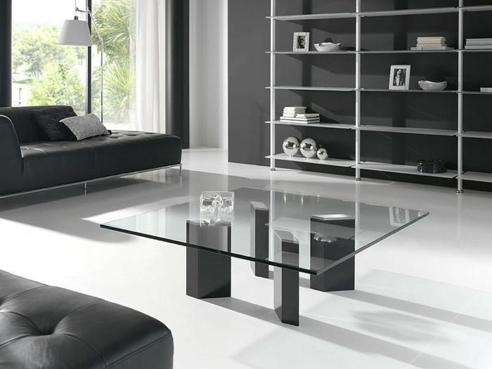 wohnzimmereinrichtung ideen schwarze möbel glastisch heller boden weiße gardinen