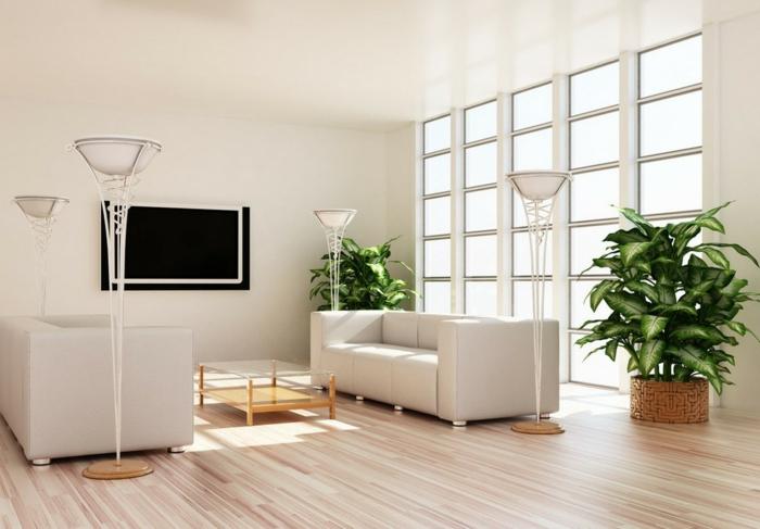 wohnzimmereinrichtung ideen topfpflanzen schicke möbel stehlampen