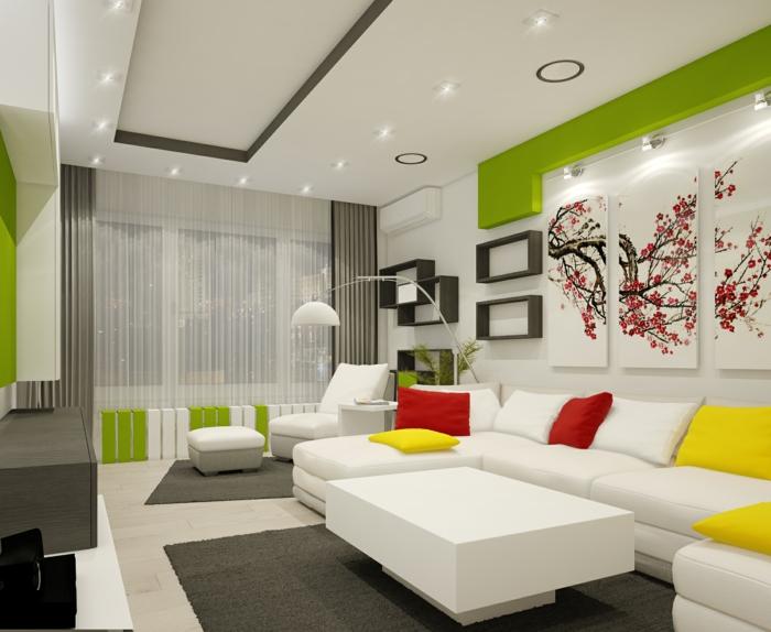 wohnzimmereinrichtung ideen weiße möbel farbige dekokissen wandregale