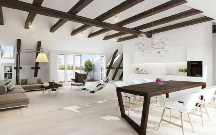 wohnzimmereinrichtung ideen weiße wände holzbalken essbereich