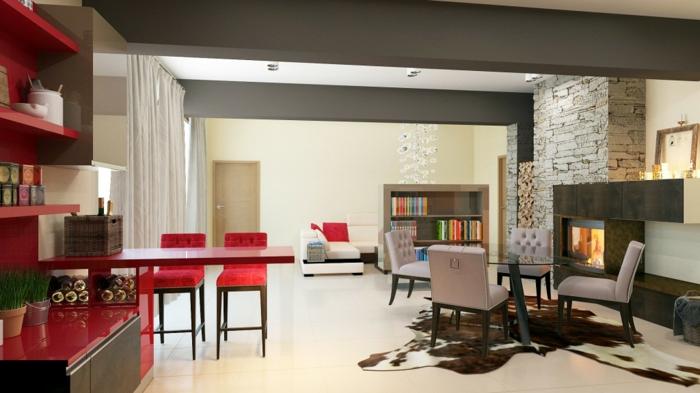 wohnzimmereinrichtung ideen wohnbereich essbereich vereinigen fellteppich