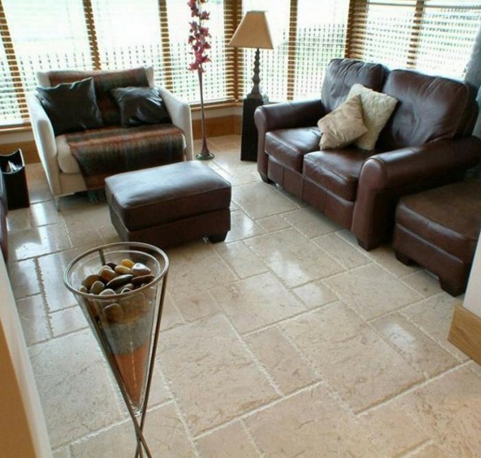 wohnzimmerfliesen bodenfliesen braune möbel dekoideen wohnzimmer