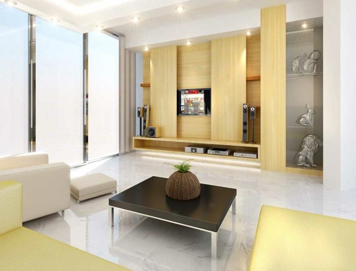 wohnzimmerfliesen schöne textur gelbe möbel wohnwand dekoideen