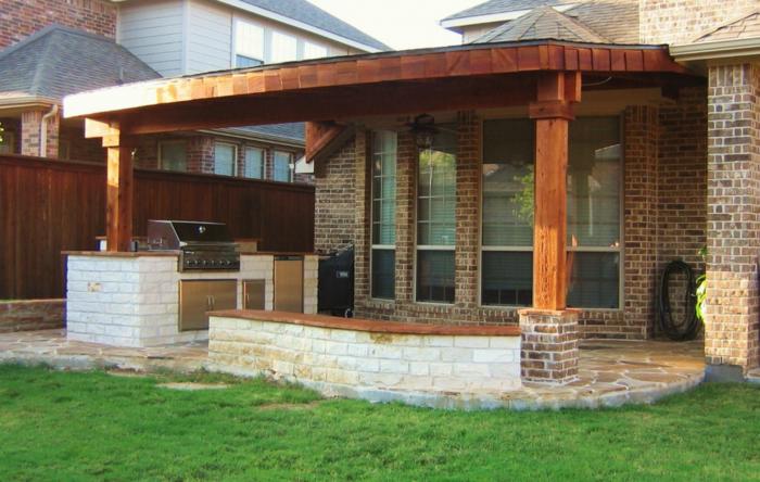 überdachung terrasse außenküche decken gartengrill