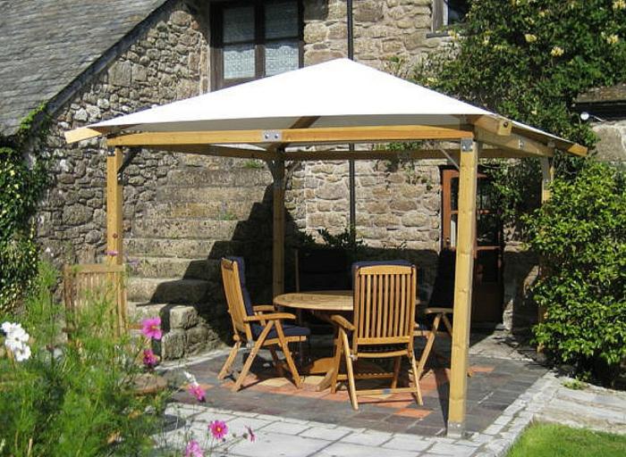 überdachung terrasse erholungsbereich gartengestaltung ideen