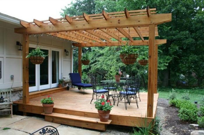 überdachung terrasse patio gestalten hölzerne überdachung