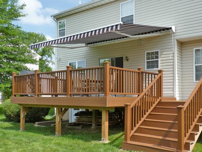 überdachung terrasse stoff streifenmuster außenbereich ideen