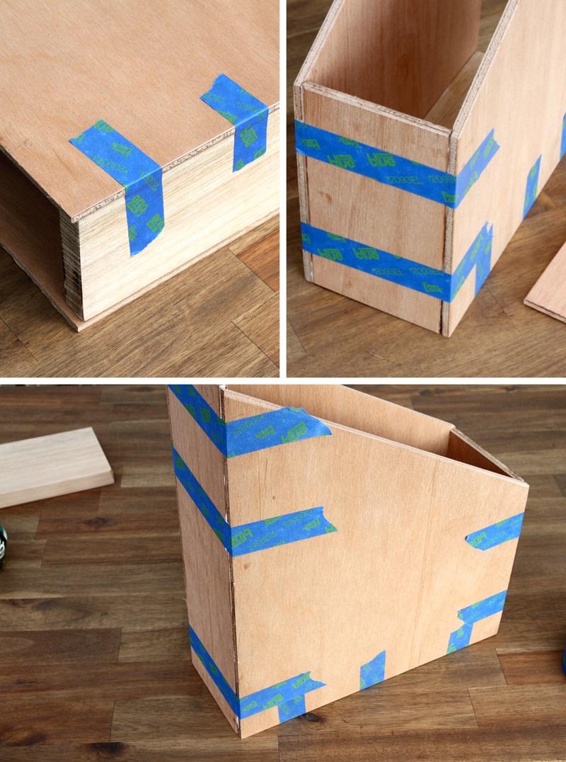 Büroaccessoires Stehsammler aus Holz selber bauen Bürozubehör Holzteile kleben