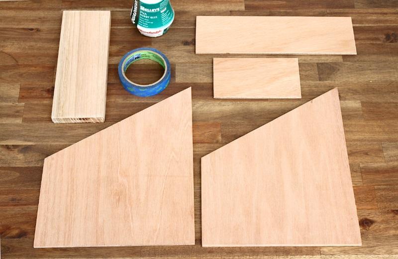 Büroaccessoires Stehsammler aus Holz selber bauen Materialien Holzplatten