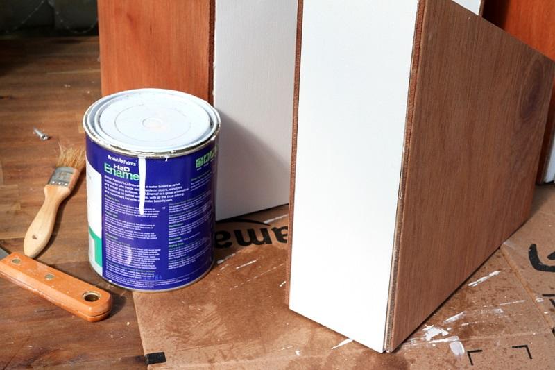 Büroaccessoires Stehsammler aus Holz selber bauen streichen Bürozubehör