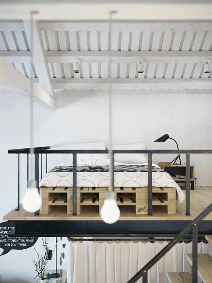 Bett aus paletten sofa aus paletten paletten bett möbel aus paletten maisonette schlafzimmer ideen