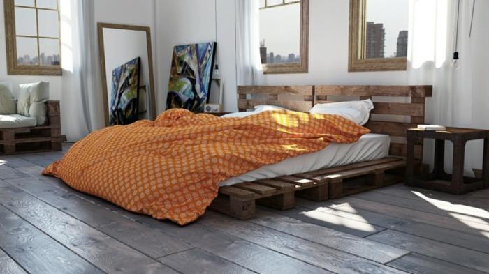 Bett aus paletten sofa aus paletten paletten bett möbel aus paletten orange schlafzimmer ideen