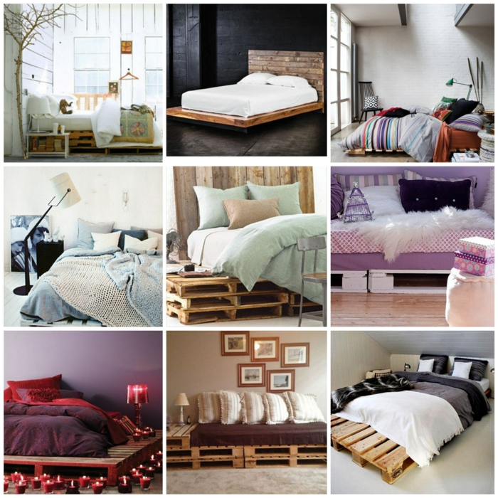 ... paletten bett möbel aus paletten zusammen schlafzimmer ideen collage1