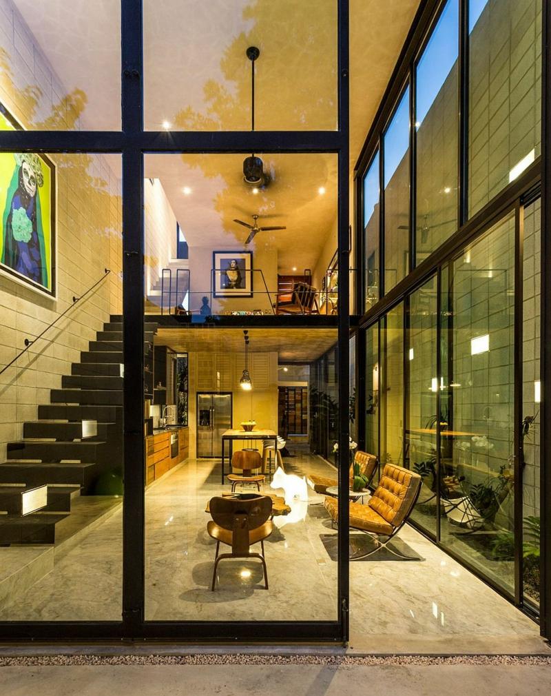 Casa Desnuda Merida Mexico Moderne Häuser bauen raumhohe Fenster