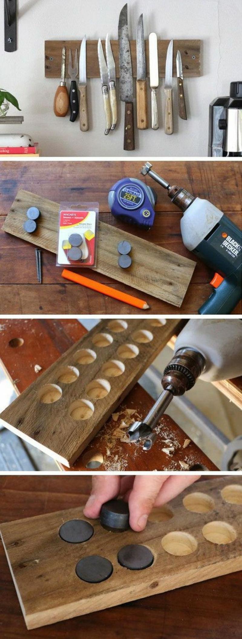 DIY Magnetleiste für Messer selber bauen Anleitung Küchenzubehör