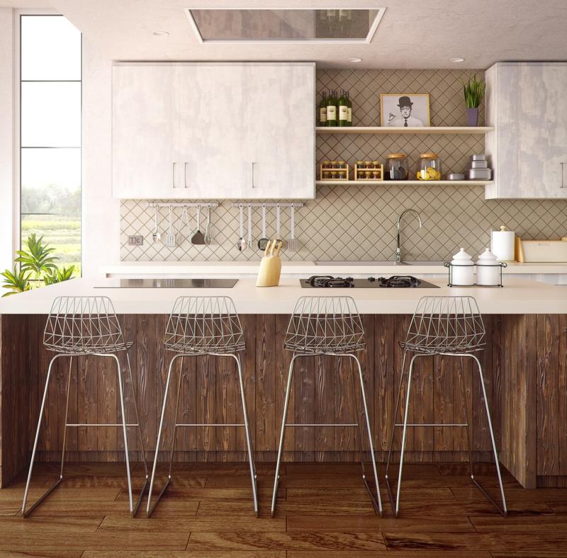 Designerküchen Marmor Arbeitsfläche Kücheninsel Barhocker
