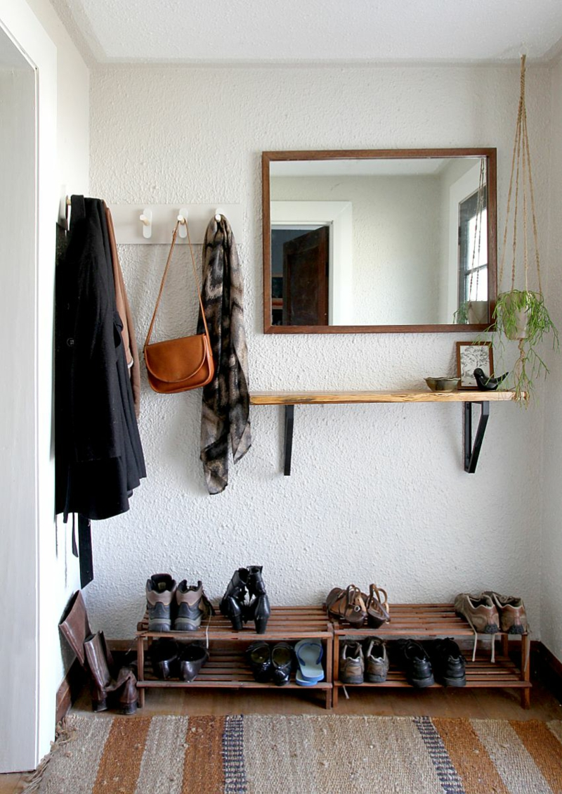 Dielenmöbel DIY Garderobenständer Holz Flurmöbel Garderobe selber bauen