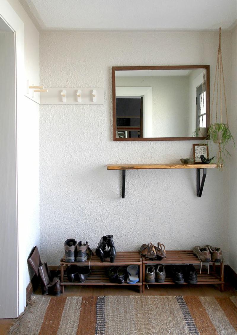Dielenmöbel DIY Garderobenständer bauen Garderobe selber bauen