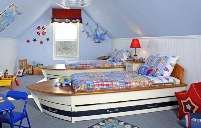Gestaltung kinderzimmer wandgestaltung schreibtisch kleiderschrank teppich boot