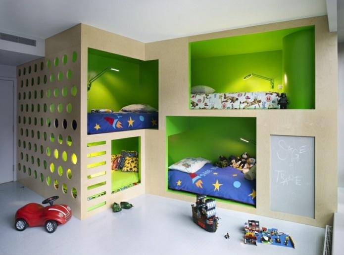 Gestaltung kinderzimmer gestalten wandgestaltung schreibtisch kleiderschrank teppich design