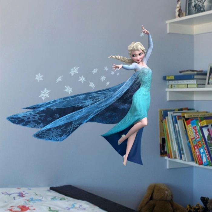 Gestaltung kinderzimmer gestalten wandgestaltung schreibtisch kleiderschrank teppich eiskönigin