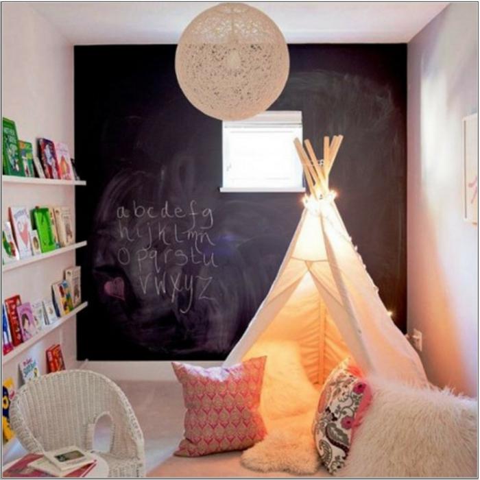 Gestaltung kinderzimmer gestalten wandgestaltung schreibtisch kleiderschrank teppich tafel