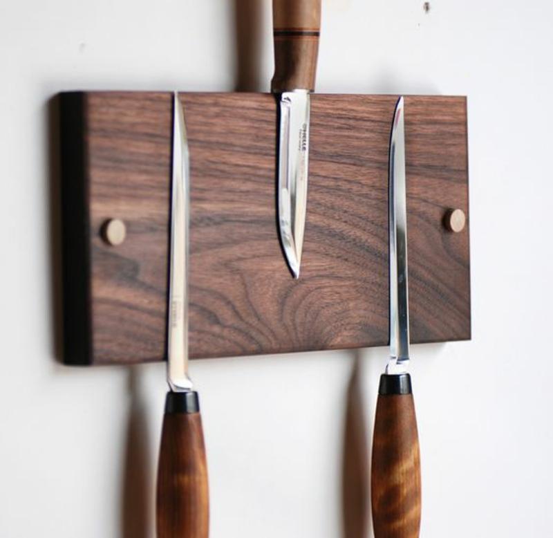 Holz Magnetleiste für Messer selber bauen Anleitung Küchenzubehör